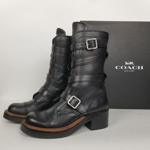 Coach Moto boots, black pebble leather